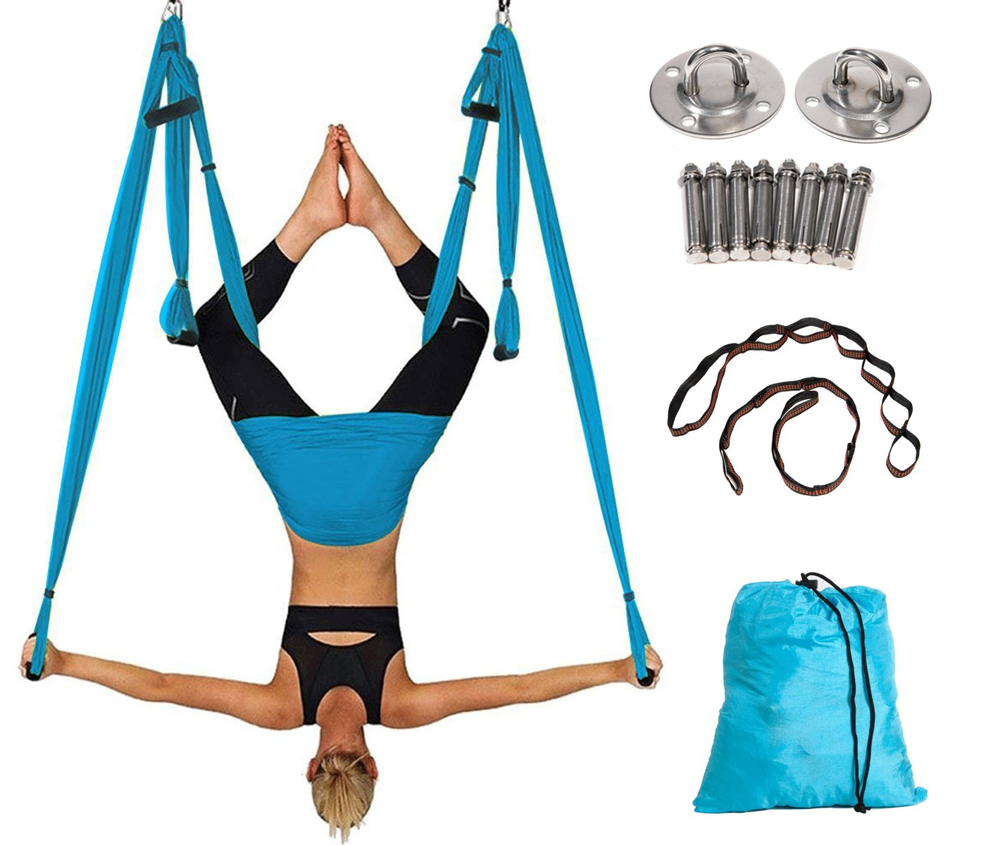 Aerial Yoga Swing Yoga Hammock Kit for Antigravity Exercise with Adjustable Handles Extension Straps (Blue)