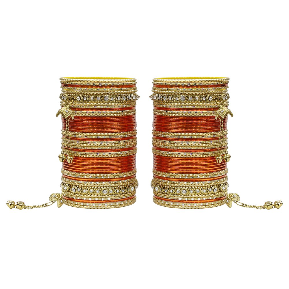 MUCH-MORE 86 Bangles Set of Multi Colour Amazing Collection of Latkhan Bangles Set (Orange, 2.4)