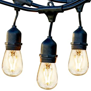 Brightech Ambience Pro - Waterproof LED Outdoor String Lights - Hanging 1W Vintage Edison Bulbs - 24 Ft Commercial Grade Patio Lights Create Bistro Ambience On Your Porch