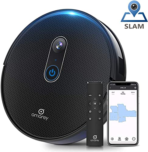 Amarey A980 Robot Vacuum with Vision Mapping Camera – Self-Charging Robotic Vacuum Cleaner Wi-Fi Connected APP, 1600Pa Strong Suction, 110 min Runtime, for Pet Hair Carpets, 2 Boundary Strip