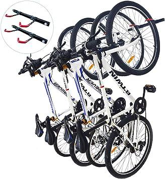 Qualward Soporte de Almacenamiento para Bicicletas para Garaje y hogar, Soporte de Pared para Colgar en la Bicicleta, 4 Bicicletas en Total, 2 Unidades: Amazon.es: Deportes y aire libre
