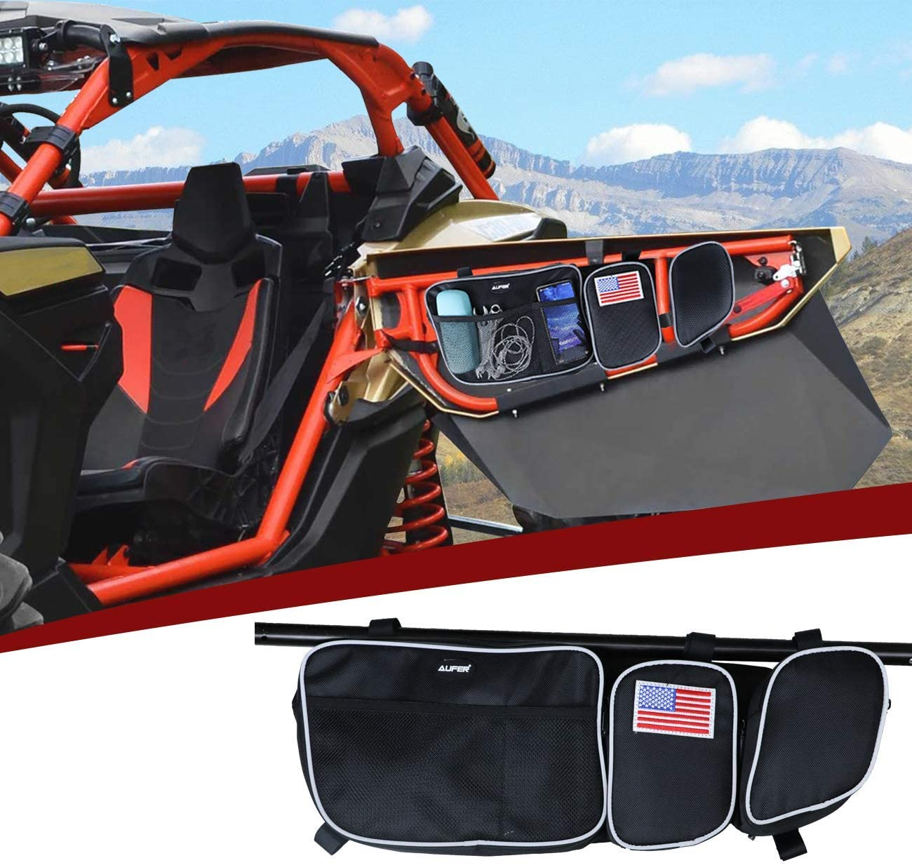 Left And Right Side AUFER Front Door Side Storage Bag With Cup Holder Removable Knee Protection Fit For UTV Can Am Maverick X3 XRS XDS Turbo R
