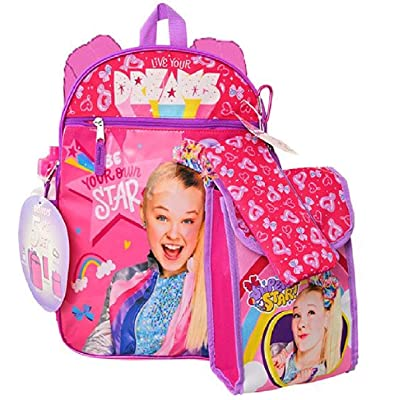 "Jojo Siwa 16"" Backpack 5pc Set with Lunch Kit, Bottle, Pencil Case & Carabiner- JOFI 