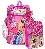 """Jojo Siwa 16"""" Backpack 5pc Set with Lunch Kit, Bottle, Pencil Case & Carabiner- JOFI"""