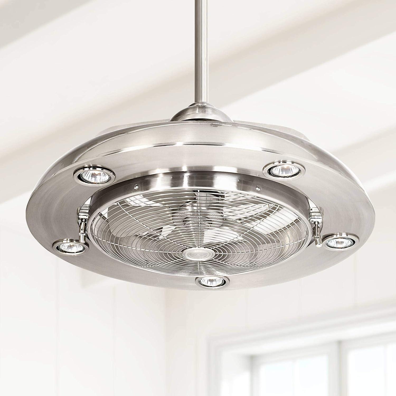 24' Segue Possini LED Brushed Nickel Ceiling Fan - Possini Euro Design