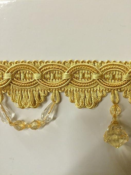 3 Crystal Beaded Tassel Fringe Trim by The Yard TF-28//10-11 Light Gold