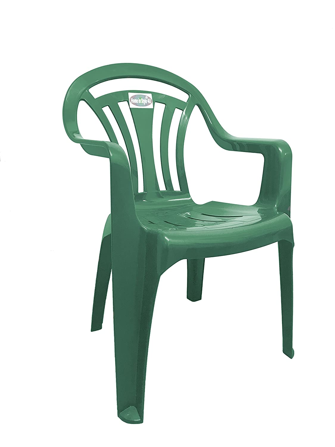 Home In Style 4U® Plastic Low Back Garden Patio Chair Lawn Chairs armchair (Green Low Back Chair)