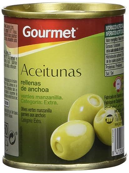 Gourmet - Aceitunas rellenas de anchoa - Verdes manzanilla extra - 3 latas de 120 g