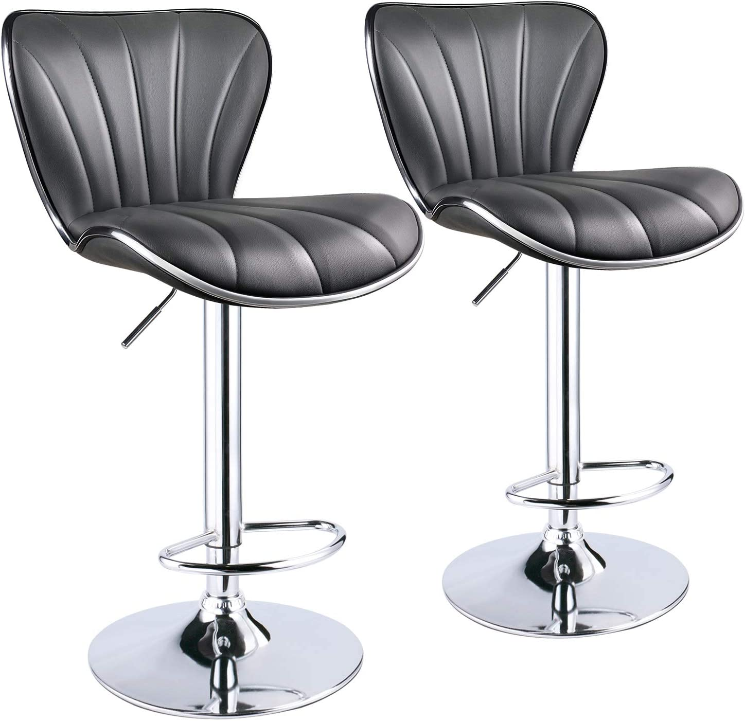 Leopard Shell Stripe Back Adjustable Bar Stools, Set of 2 Grey