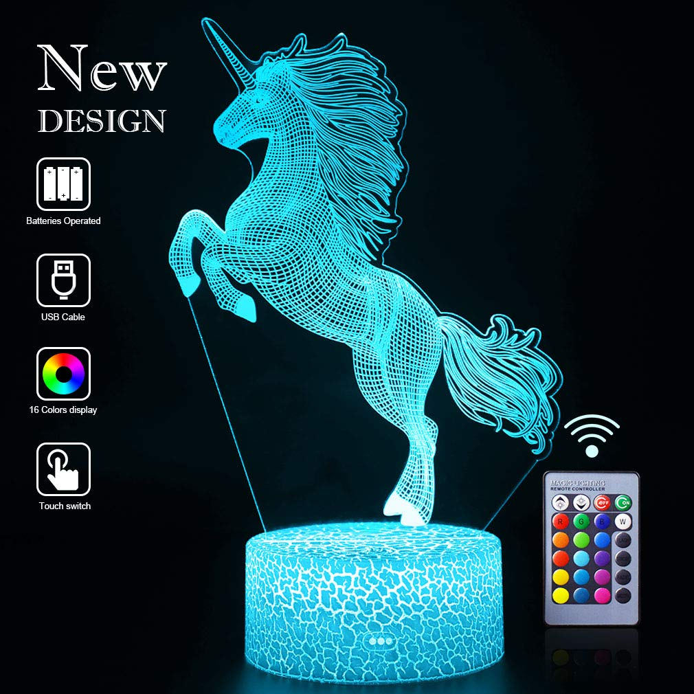 3D Unicorn Night Lights 16 Colors LED Optical Illusion Lamps Light with Smart Touch&Remote Controller Birthday Xmas Party Gifts for Girls Kids Home Decor Bedroom Desk Decorations (Unicorn Run(Remote))