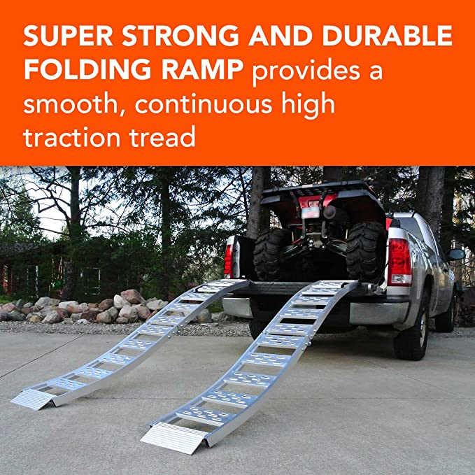 CargoSmart 12 in L Aluminum Folding S-Curve Ramp with Treads 1500 lb W x 90 in Capacity