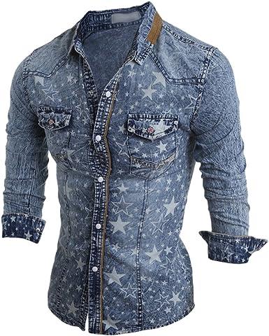 Zhiyuanan Camisa De Mezclilla De Moda Estrella De Cinco Puntas Impresa Casual Jeans Chaqueta Denim Camisa De Manga Larga del Otoño Y del Invierno De Los Hombres Azul Claro L: Amazon.es: Ropa