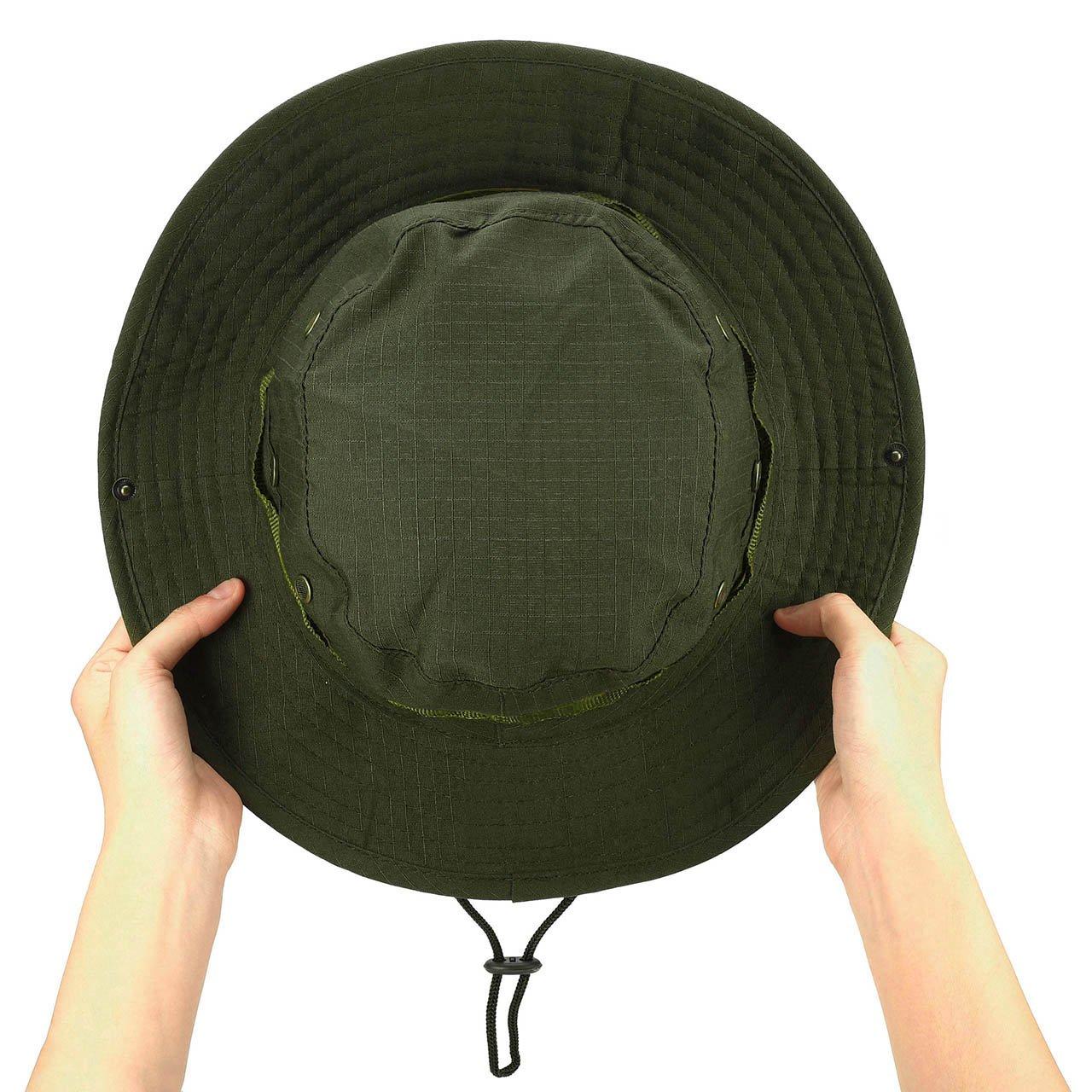17b4e08e0 FALETO Outdoor Boonie Hat Wide Brim Breathable Safari Fishing Hats UV  Protection Foldable Military Cap