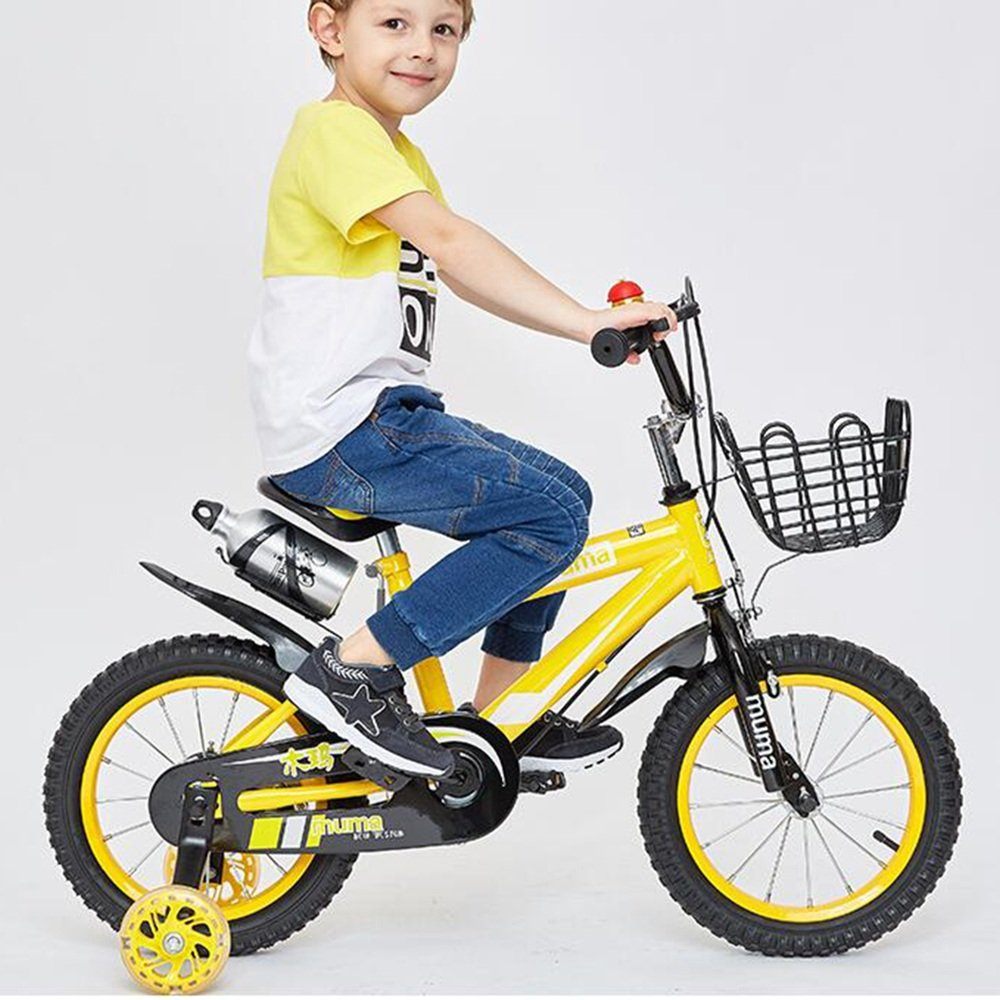 YANGFEI 子ども用自転車 フリースタイルキッズバイクボーイとガールズ自転車、トレーニングホイール付きパーフェクトギフト12-14-16-18インチ 212歳 14 inch イエロー いえろ゜ B07DWZTXBT
