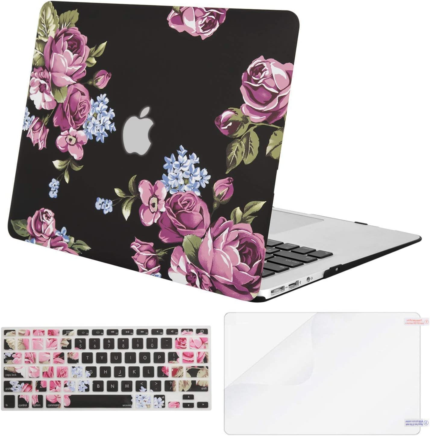 MOSISO MacBook Air 13 inch Case (A1369 & A1466, Older Version 2010-2017 Release), Plastic Pattern Hard Case&Keyboard Cover&Screen Protector Only Compatible with MacBook Air 13, Purple Peony