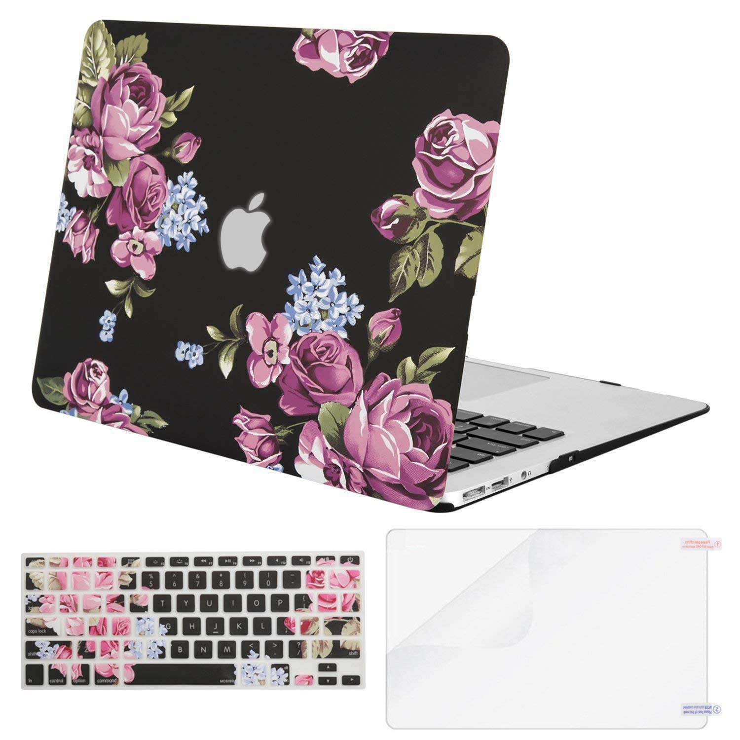 MOSISO Plastic Pattern Hard Case & Keyboard Cover & Screen Protector Only Compatible MacBook Air 13 Inch (A1369 & A1466), Not Compatible 2018 MacBook Air 13 in with Touch ID, Peony