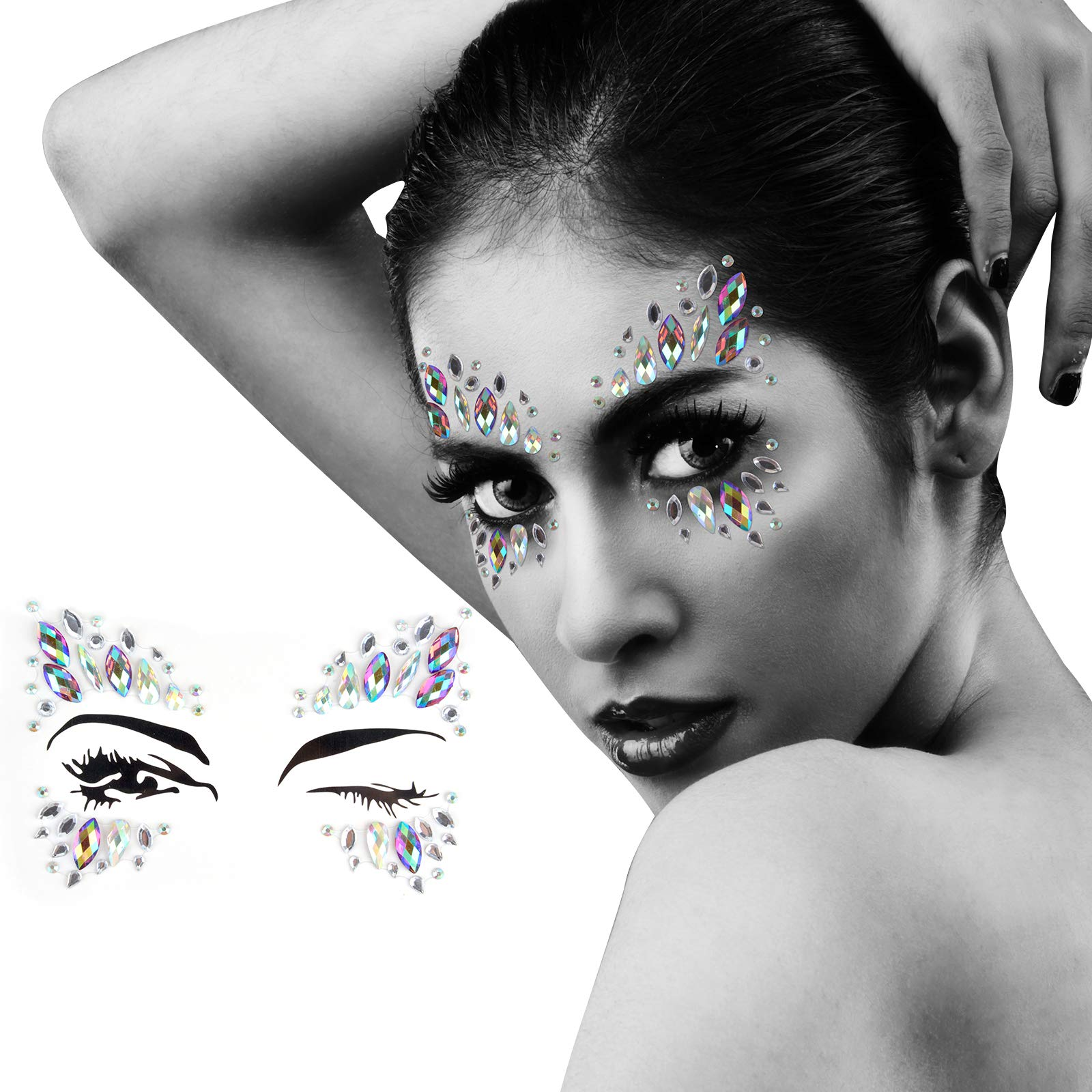 Body Tattoo Sticker, Fascigirl 4 BohemianRhinestone Crystal Mermaid TearsStickers Halloween Rave Party FestivalMetallic Shiny Gems Glitter TemporaryFace Body Tattoos Jewels