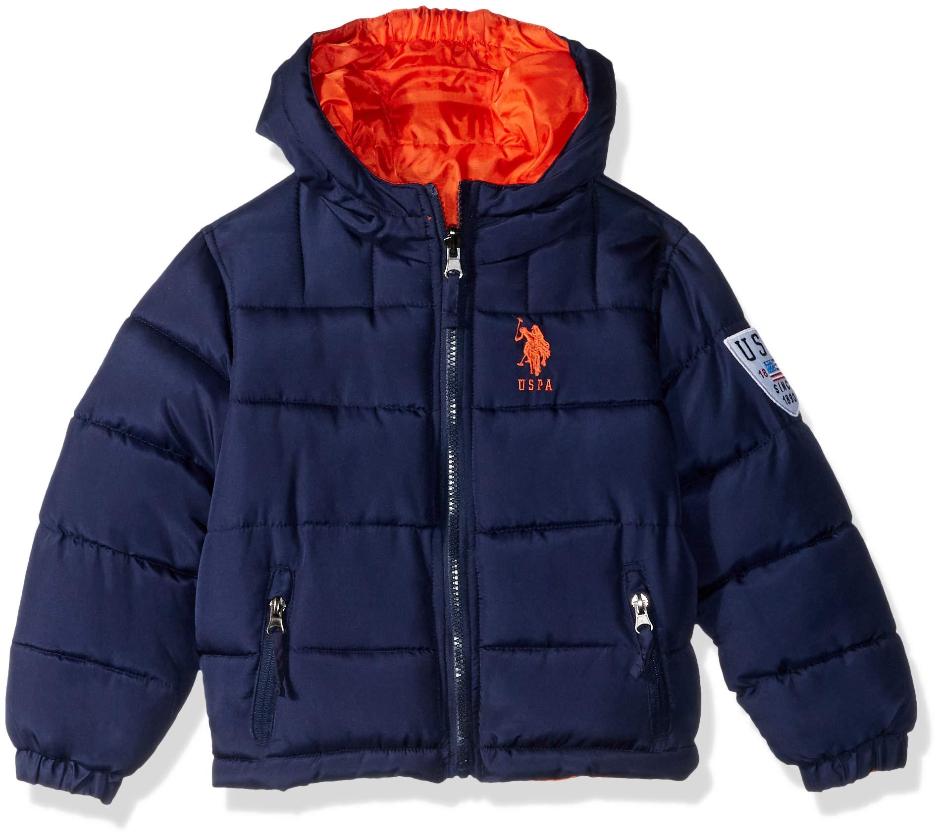 US Polo Association Boys' Toddler Reversible Bubble Jacket, Navy/Orange, 2T