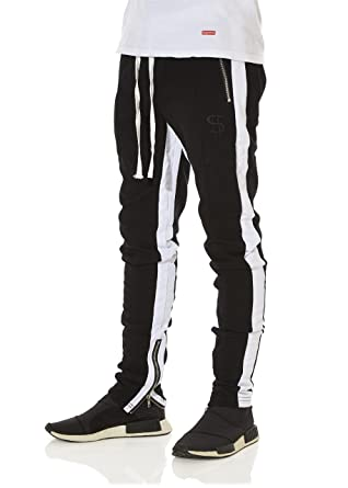 2b2a0023c2 Cha$e Clothing Men's Double Striped Side Panel Slim Fit Track Pants - Black  and