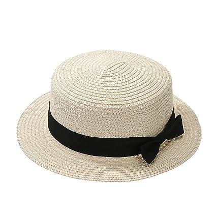 30a46fc9c Amazon.com: Fashionable Women Sun Block Hat Girl Bow Straw Sun Hat ...