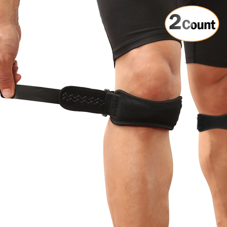 2 Pack Rodillera Ajustable, AGPTEK Rodilla Protector Correa Rotuliana para Tendón Alivio de la Tendinitis, la estabilización de la Articulación en Tenis, ...