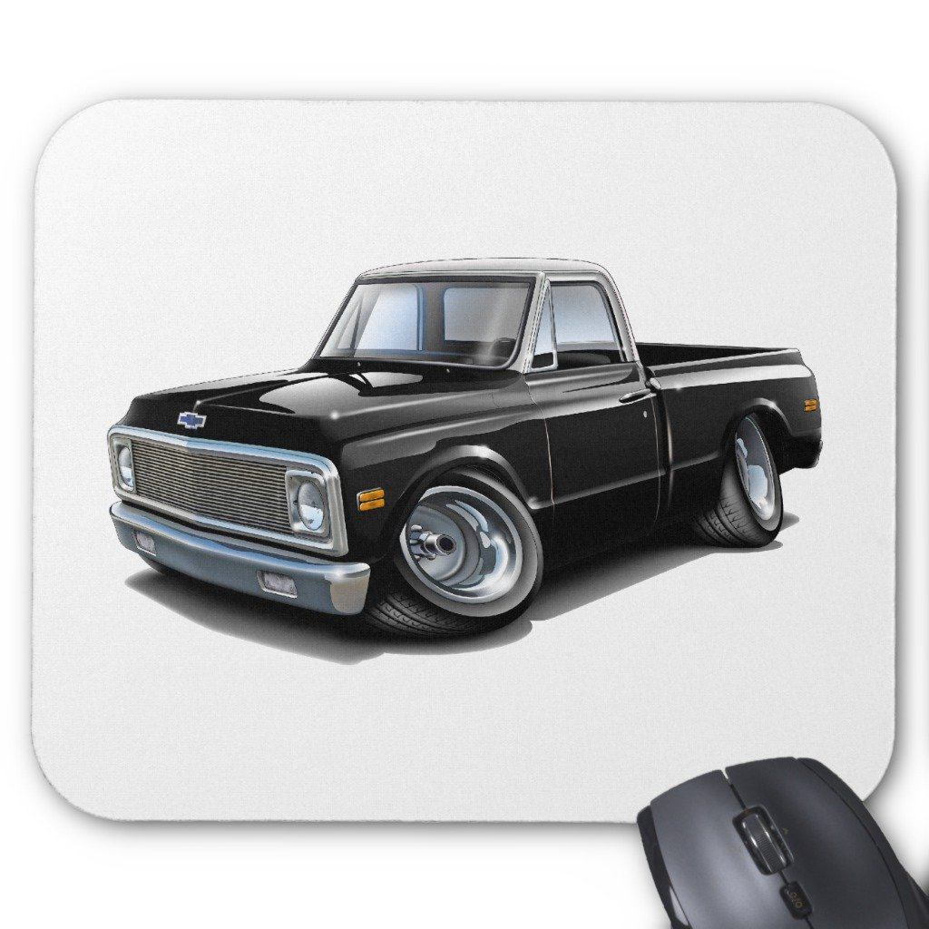 Free Shipping Zazzle 1970 72 Chevy C10 Black White Top Truck Mouse Computer Hard Drive Circuit Board Notebook Pad