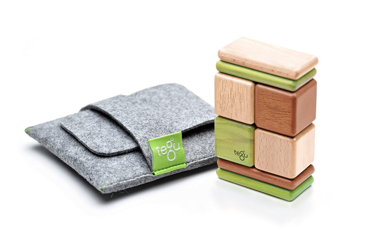 8 Piece Tegu Pocket Pouch Magnetic Wooden Block Set, Natural A-10-011-SJG