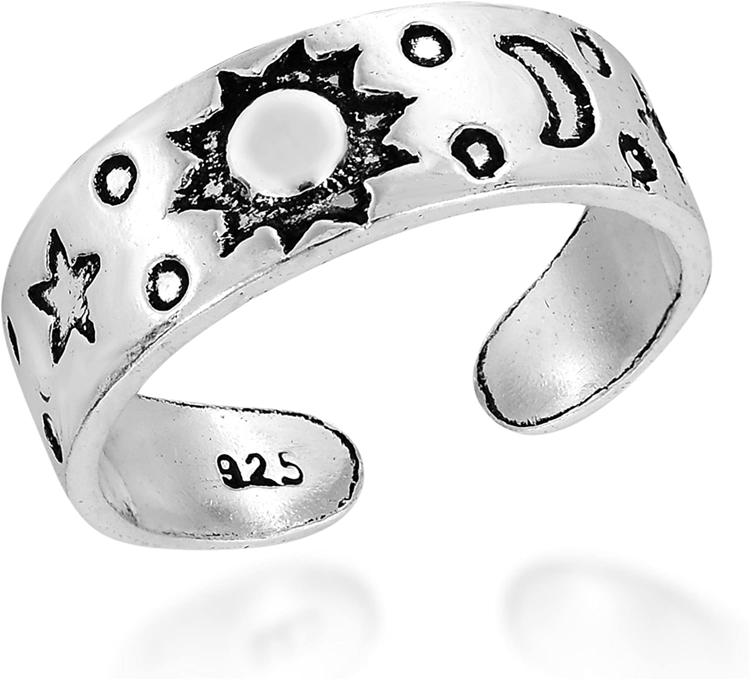 AeraVida Celestial Sky Sun Moon and Star .925 Sterling Silver Toe Ring or Pinky Ring