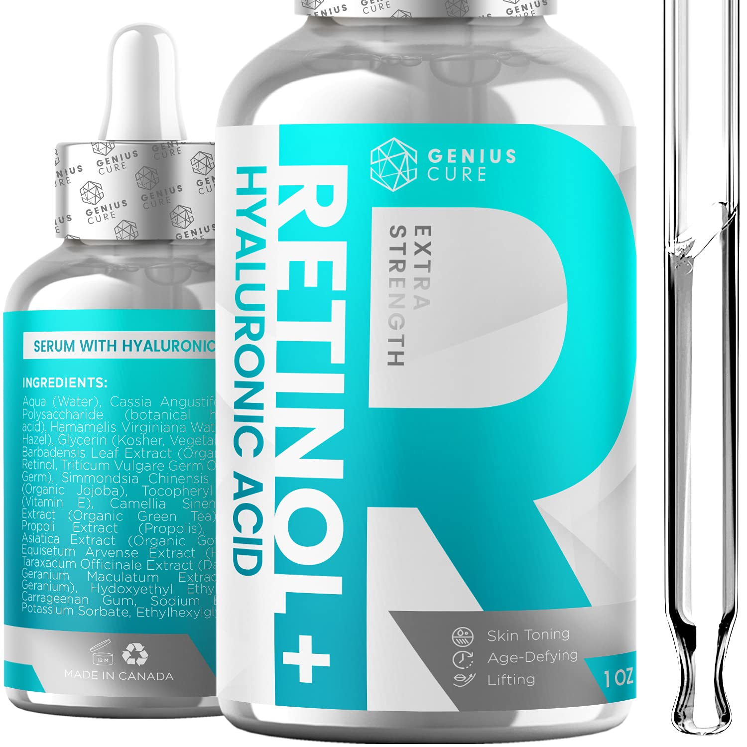Retinol & Hyaluronic Acid Serum Anti Aging & Anti Wrinkle Serum, Boost Collagen Production and Effectively Reduce Wrinkles For Face & Eyes 1fl oz: Beauty