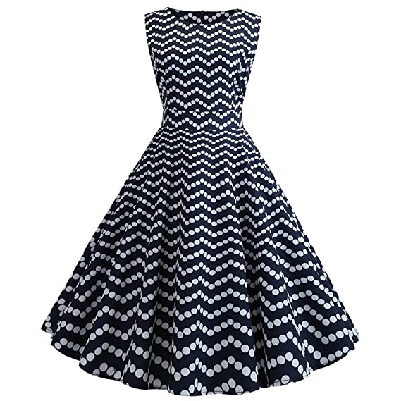 Women Vintage Printing Bodycon O-Neck Sleeveless Casual Party Prom Swing Dress