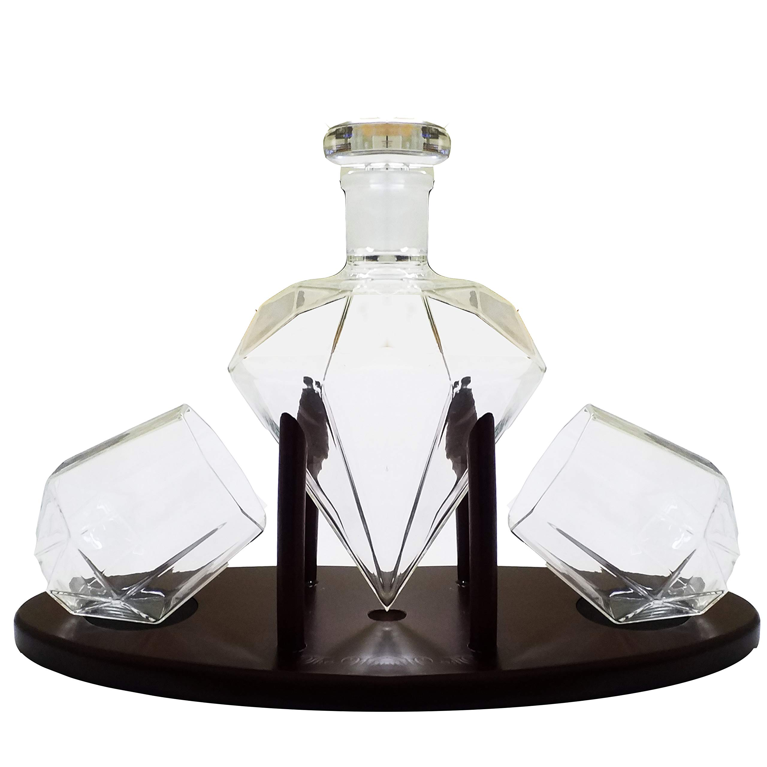 Whiskey Decanter Diamond shaped With 2 Diamond Glasses & Mahogany Wooden Holder - Elegant Handcrafted Crafted Glass Decanter For Liquor, Scotch, Rum, Bourbon, Vodka, Tequila - Great Gift Idea - 750ml by RUGLUSH (Image #5)