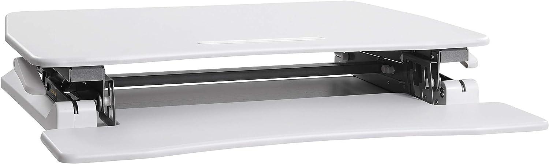 Support double pour 2 /écrans Poste de Travail r/églable en Hauteur Blanc LSD07WT avec Support Clavier Amovible Surface 90 x 59 cm pour la Maison ou le bureau SONGMICS Bureau Debout