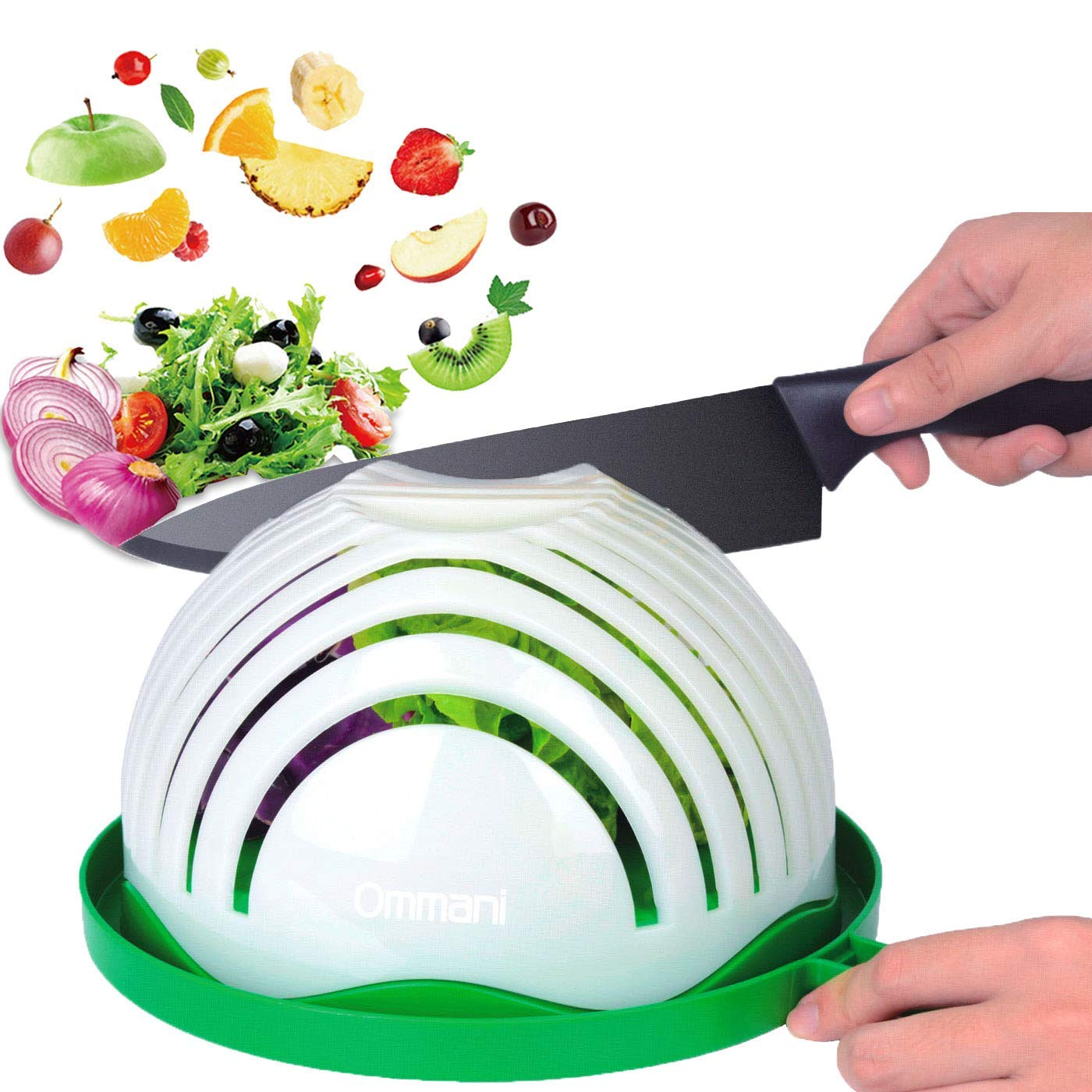 Salad Cutter Bowl, Ommani Upgraded Salad Maker Family Size Fast Vegetable Cutter Bowl, Salad Slicer Salad Chopper Strainer Cutting Board 4 in 1 Durable FDA-Approved for Kitchen by Ommani