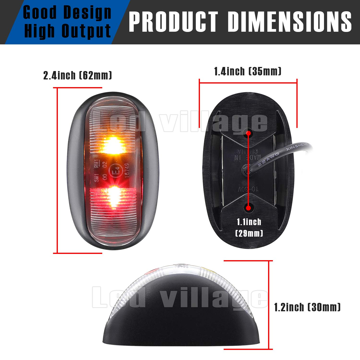 LedVillage 2.4 Inch Amber//Red LED Side Marker Indicator Lights F3 Piranha 2 Diodes Universal for Pickup Bus Lorry Trailer RV Cab Truck ATV Camper MPV 12V 24V DC Ultra Bright Power Save MA Pack of 10