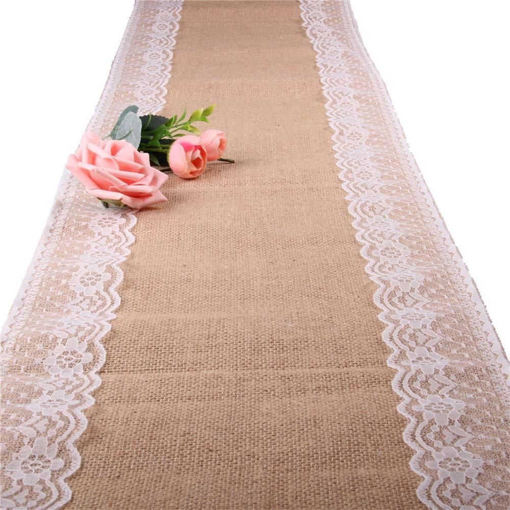 OSVINO Runner Tavola 30x220cm Tessuto Iuta 40x30cm Naturale con Pizzo Macrame Vintage Eleganti per Decorazione Matrimonio Giardino Feste Compleanno,Pizzo1