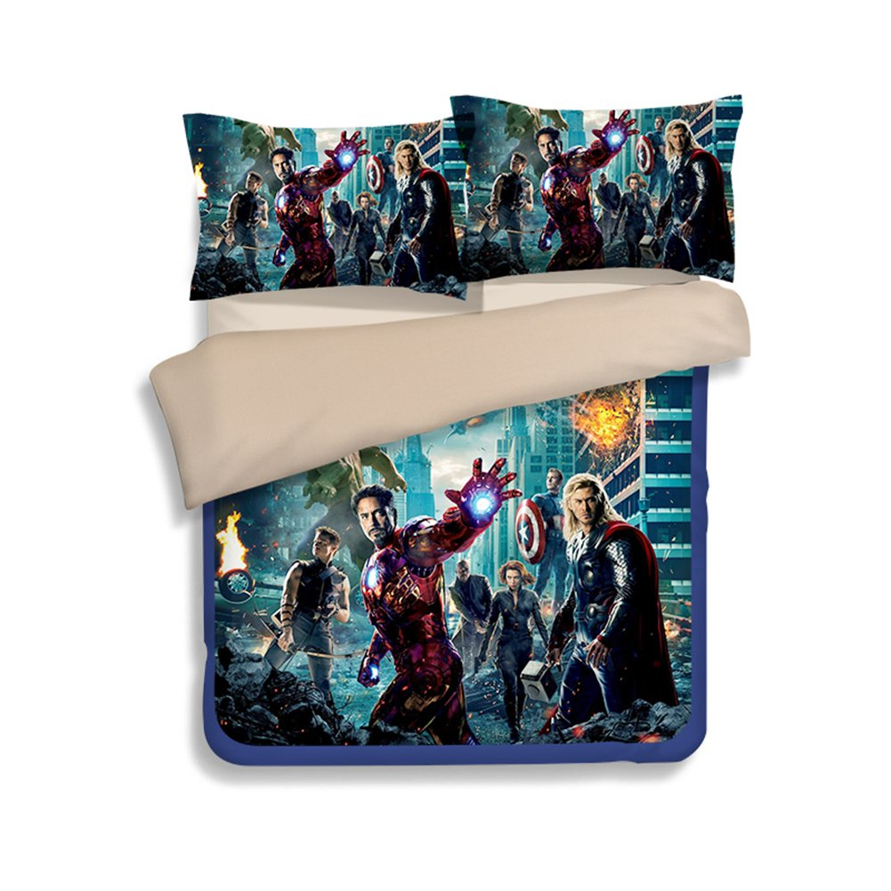 3D The Avengers Bedding Sets - Sport Do Best Gifts for Movie Funs 100% Polyester Skinclose Fitted Sheet 4PC Queen