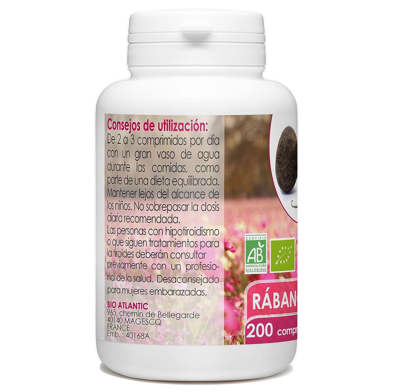 Rábano Negro Orgánico - 400mg - 200 comprimidos: Amazon.es: Salud y cuidado personal