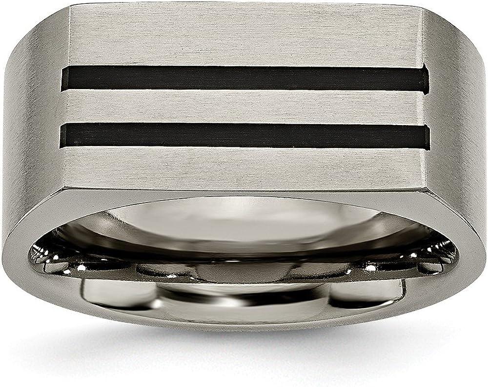 Jay Seiler Titanium 10mm Black Enamel Stripes Brushed Band Titanium 11 Size
