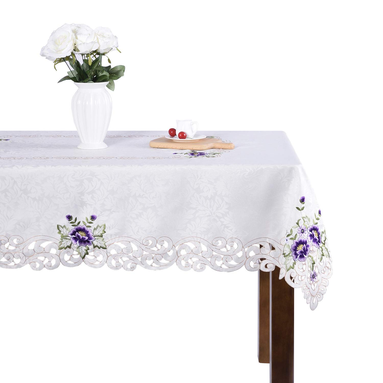 Elegant pink flower embroidery floral square dining kitchen home room cutwork small table cover top party wedding gift JH tablecloths