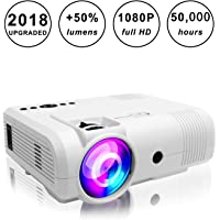Projectors,PoFun(2018 Upgraded)+50% Lumens Mini Portable Projector,50,000 Hour LED Full HD 1080P Video Projector 150''Display Compatible Fire TV Stick,HDMI,VGA,AV,SD Used in iPhone,Laptop