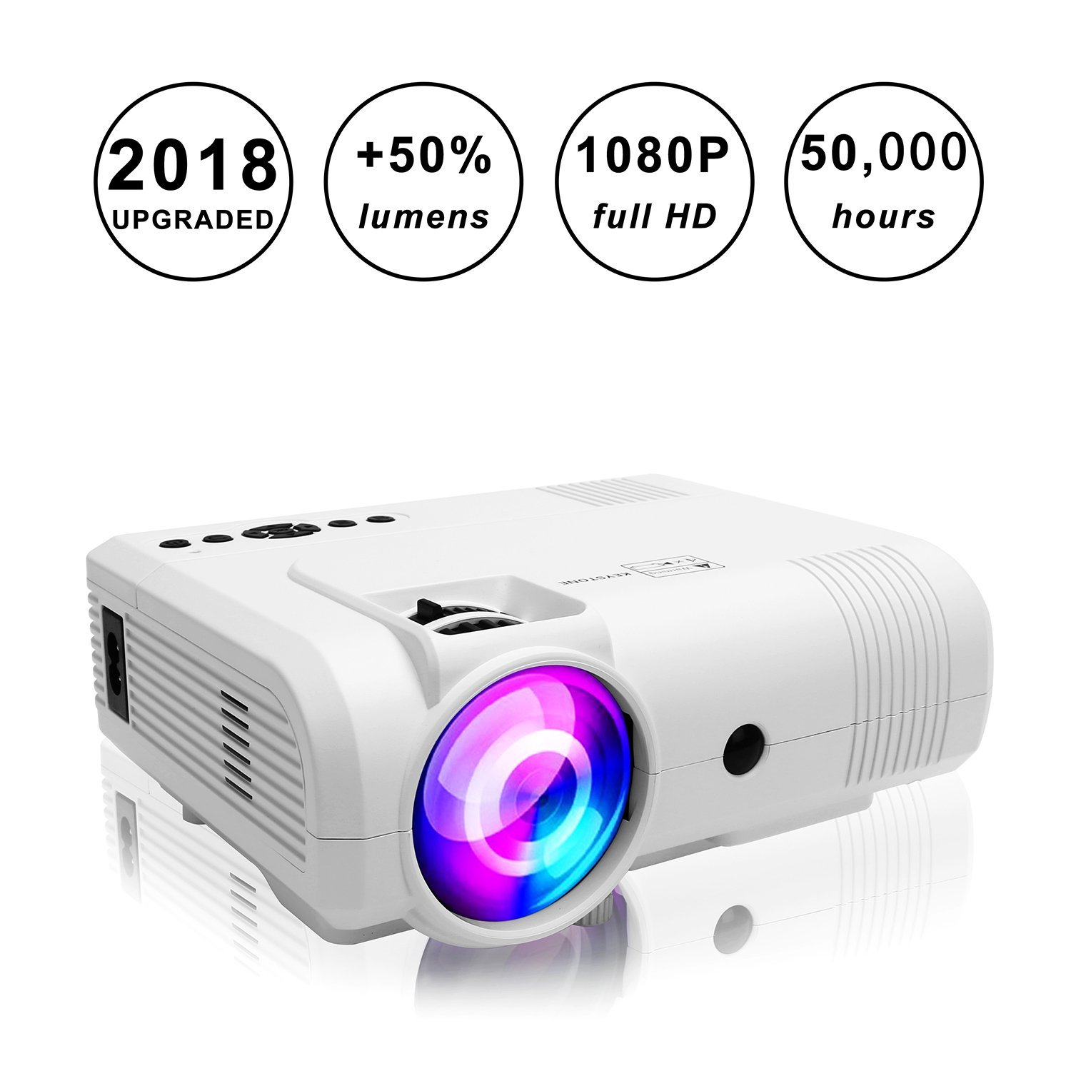Projectors,PoFun(2018 Upgraded)+50% Lumens Mini Portable Projector,50,000 Hour LED Full HD 1080P Video Projector with 150''Display and Compatible Fire TV Stick,HDMI,VGA,AV,SD Used in Phone,Laptop