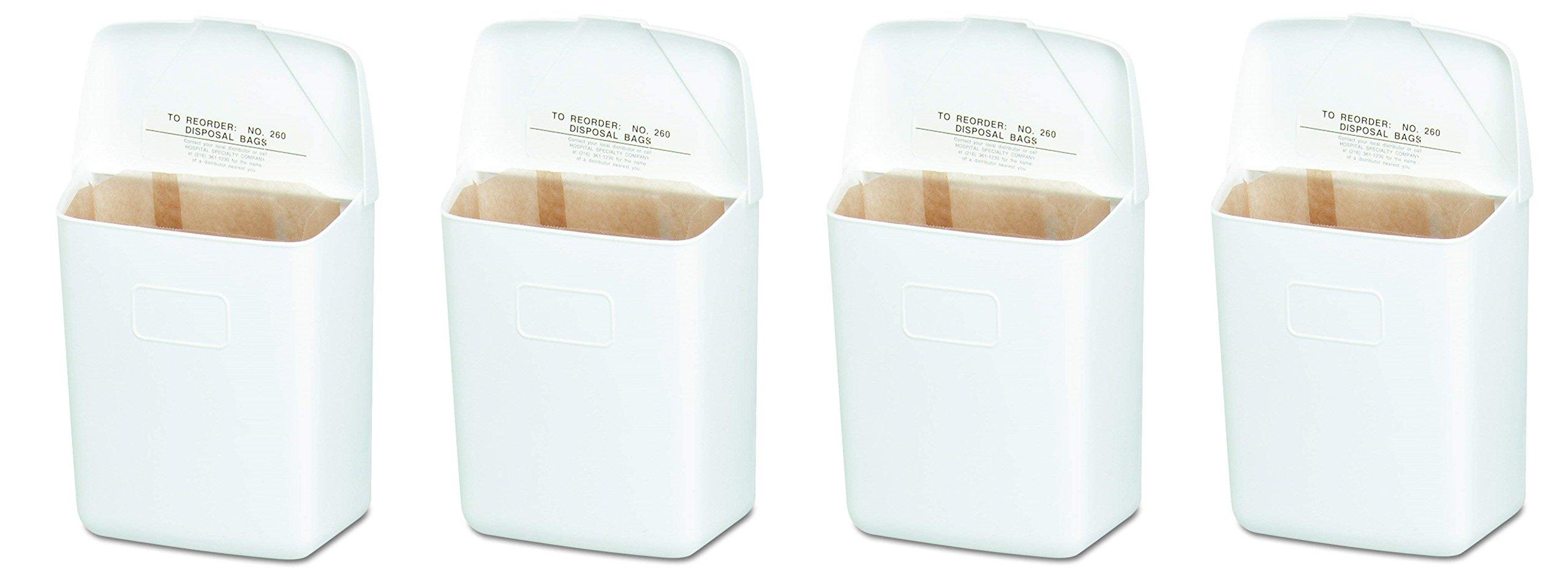 Hospeco Feminine Hygiene Receptacle, White ABS Plastic, 250-201W (4-Pack)