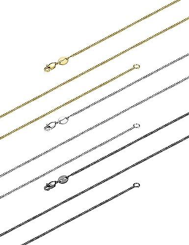 Besteel 3 Piezas 1 MM Collar de Acero Inoxidable Cadena para Mujeres Hombres Collar Fino Adecuado para Colgantes, 46-61 CM