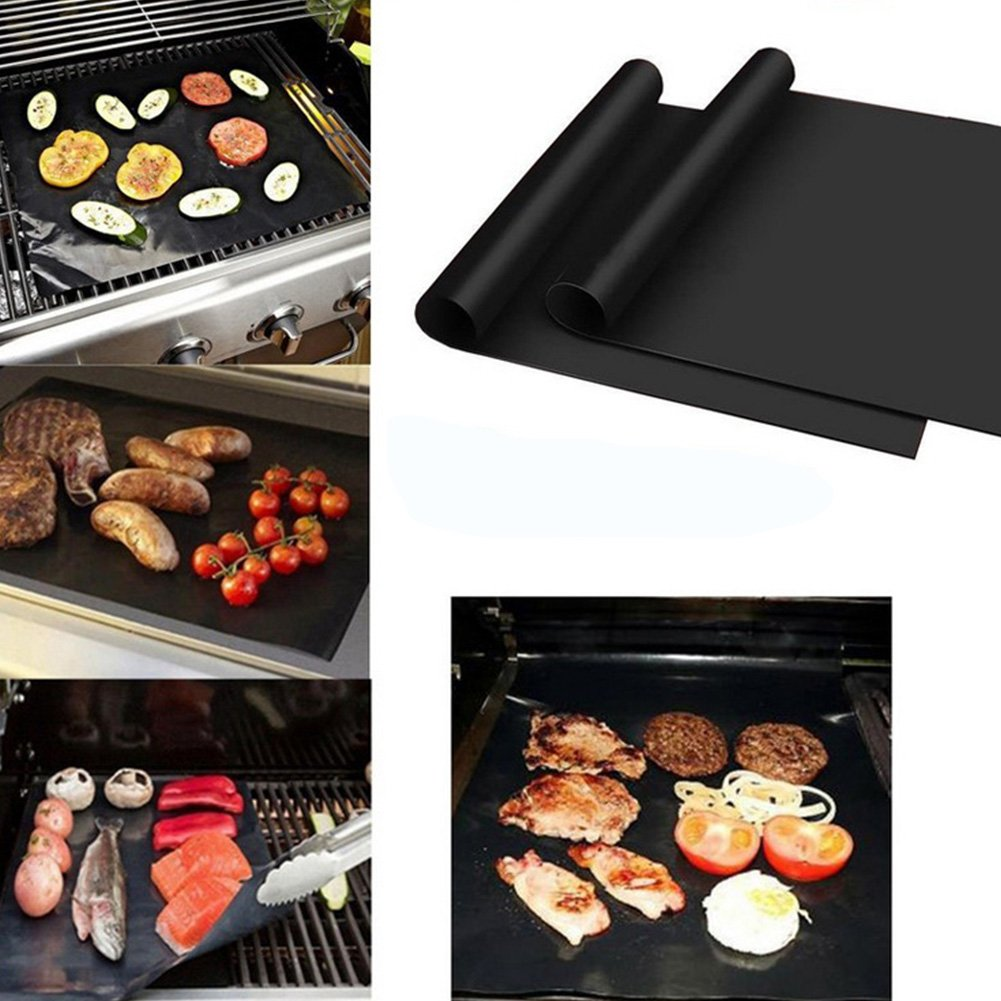 2Pc Square Oven Reusable Non-Stick Waterproof Barbecue Cooking Mat Round//Square Heat Resistant Oven Liner for Electric Grill BBQ Grill Mat Charcoal Gas