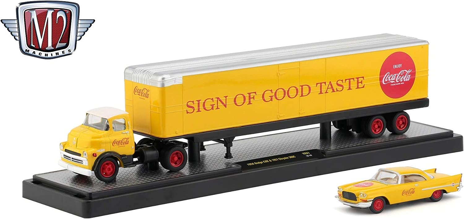 YR01 18-19 M2 Machines 1958 Dodge COE /& 1957 Chrysler 300C Sign of Good Taste Auto-Haulers Coca-Cola Release 6 Castline 2019 Premium Edition 1:64 Scale Die-Cast Vehicle Set