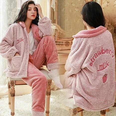 Pijama Invierno Mujer Polar,Conjunto de Pijamas de otoño e ...
