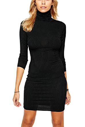 d88409bca6 Zilcremo Women Autumn Elegant Long Sleeve High Neck Slim Soft Bodycon Mini  Party Dress  Amazon.co.uk  Clothing