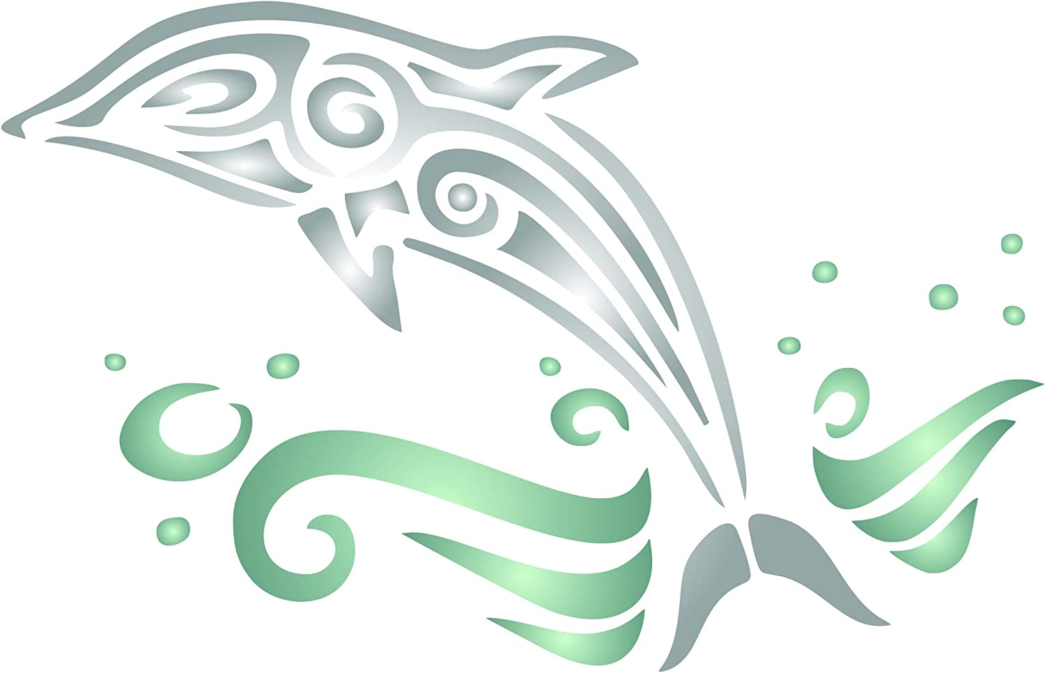 Dolphin Stencil, 7 x 4.5 inch (S) - Animal Fish Sea Whale Wall Stencils for Painting Template