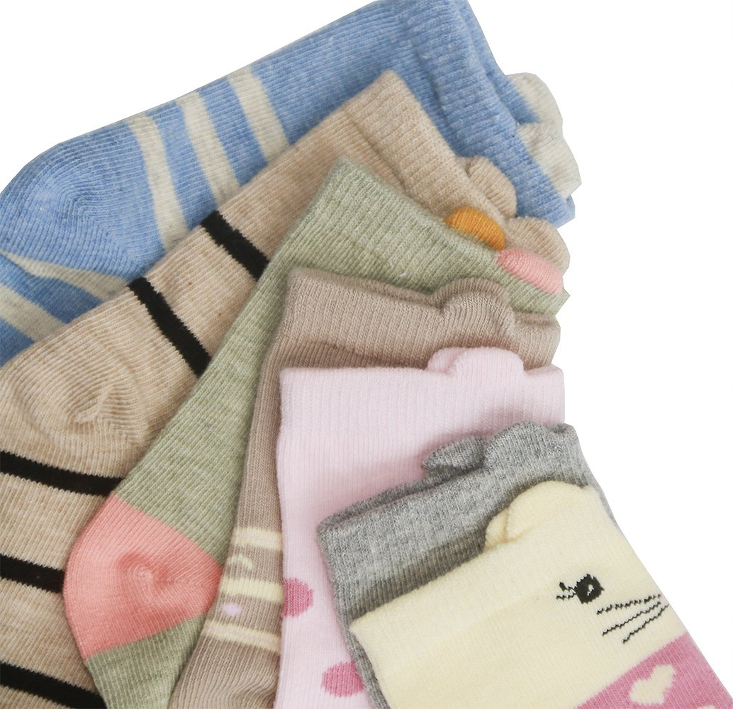HzCodelo Kids Toddler Big Little Girls Fashion Cotton Crew Seamless Socks -6 Pairs,Multicolor,Shoe size 12.5-3/L by HzFluo.Codelo (Image #3)