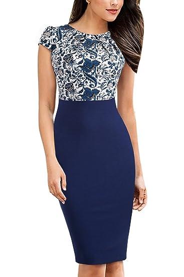 423042203457e8 HOMEYEE Damen Vintage Rundhalsausschnitt Blumendruck Bodycon Business  Bleistift Kleid B316  Amazon.de  Bekleidung